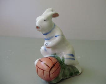 Vintage Russian Gorodnitsa porcelain animal figurine,footballer bunny,hare,rabbit handpainted,stamped