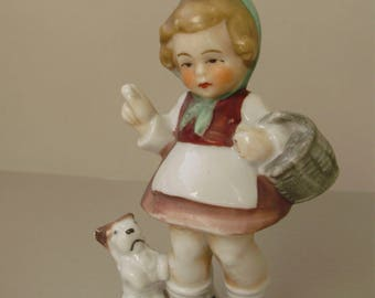 Vintage,German porcelain figurine,lovely girl with puppy