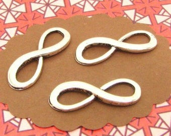 12 silver infinity charms connectors BA03