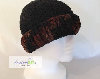 Brimmed Messy Bun/Ponytail Beanie / Handmade Crochet / Women's Gift Idea / Men's Gift Idea / Soft / Warm / Brown Multi