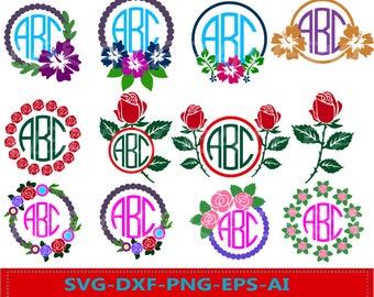 60 % OFF, Floral Monogram, Flower svg, dxf, ai, eps, png, monogram files, Flower Circle Monogram Frames, Flower Cut Files, Monogram Frame