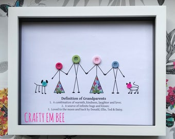 Personalised Grandparents Button Frame/Print • Free postage•