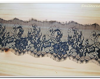 3 m * 14cm lace CHANTILLY Black - Lace fringe - LACE BLACK Ref. 1026