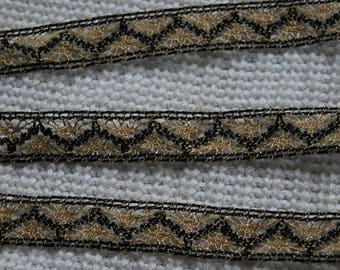 2 metrs * 14mm black and gold lurex thread passementerie trim