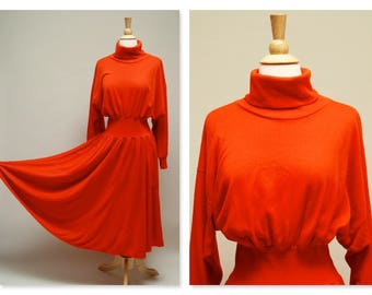 Vintage 80s Batwing Sleeve Dress ⎮ Vintage Orange Circle Skirt Dress ⎮ 1980s Turtleneck Dolman Sleeve Maxi Dress