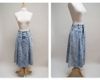 Vintage 80s Acid Wash Skirt ⎮ 1980s Blue Jean Skirt ⎮  Denim 80s Retro Midi Skirt
