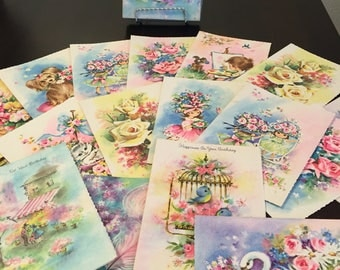 Vintage 17 Birthday and Get Well Greeting Cards Assortment with Envelopes.