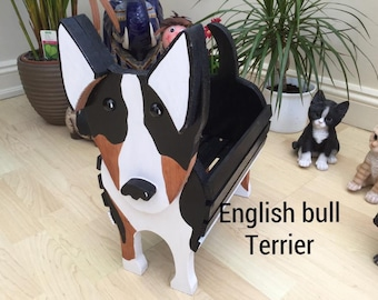 ENGLISH BULL TERRIER.wooden dog planter,garden ornament