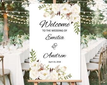 Wedding Welcome Sign Template, Printable Wedding Reception Sign, White, #A053, INSTANT DOWNLOAD, Editable PDF