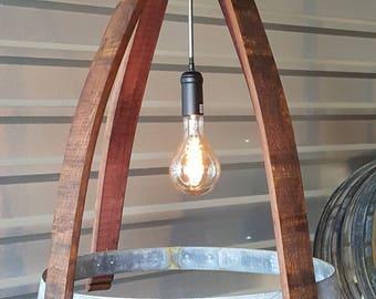 Wine Barrel Ring & Stave Light Fixture