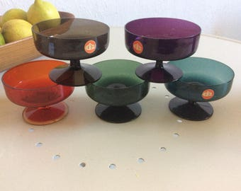 Beautiful vintage colored liquor glasses by Ingrid glass mid century