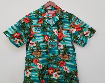 Vintage RJC Blue Green Floral Island Print Surfer Tiki Hawaiian Shirt. 100 Cotton. Men's Size L. Aloha Shirt. Made in Hawaii