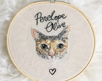 "Hand Embroidered Pet Portrait 5"" Hoop Art (Made to Order)"