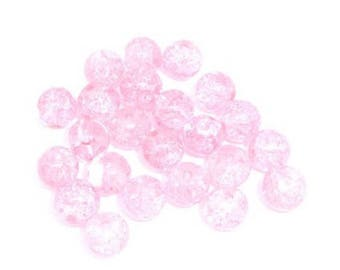 20 crackled glass beads Pink 8 mm