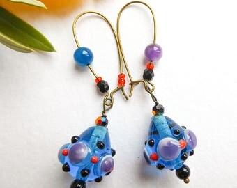 Earrings, glass beads, Lampwork beads, lampwork, abyssal transparency