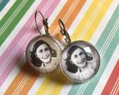 Anne Frank glass cabochon earrings - 16mm