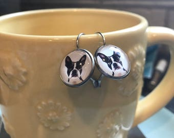 Handmade Boston terrier glass cabochon earrings - 16mm