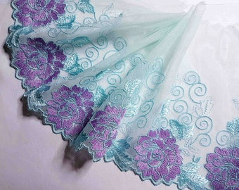 1.43 m beautiful lace embroidery blue, purple width 19 cm