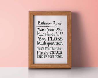Bathroom rules sign / bathroom rules wall decor / bathroom rules for boys / Funny printables / Toilet Art / humor Restroom poster