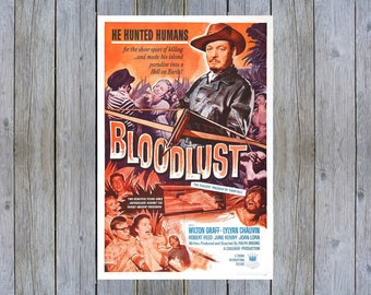 1961 Bloodlust vintage horror movie poster print