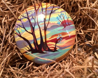 """Brooch. Painting on wood """"Melody of autumn"""""""