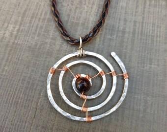 Men's jewellery; Men's pendant;  Silver pendant; Boho pendant; Tigers eye; Unisex pendant; Men's gift; Wirework pendant; Hammered copper