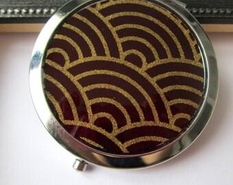 "Pocket mirrors ""fabric Japanese seigaiha motif""-Burgundy and gold"
