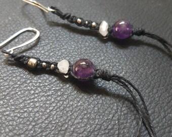 Amethyst and Rose Quartz Hemp Earrings