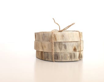Set of three wood coaster. Wooden coaster. Pine wood.