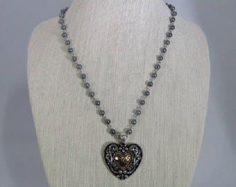 Gold and Silver Heart on Pearled Chain