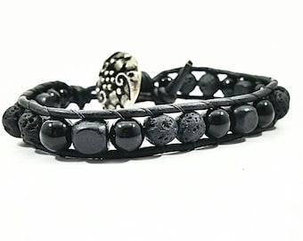 Back in Black~Handmade Wrap Bracelet~Lava Stone Bracelet~Obsidian Bead Bracelet~Lava Wrap Bracelet~Leather Bracelet~Diffuser Bracelet