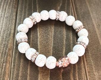 Rose Gold Skull & White Lava Stone Essential Oil Stretch Bracelet~ Skull Jewelry~ Lava Beaded Bracelet