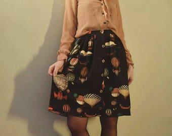 Master Skirt-air balloon pattern-buttons skirt-vintage style skirt
