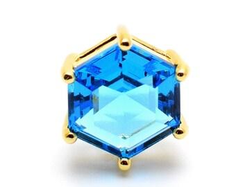 2 Hexagonal Capri Blue Pendant / Connector. 22K Gold Plated over Brass Setting. 18mm