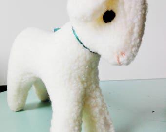 vintage handmade lamb, stuffed toy, white animal, baby gift vintage, woolen baby gift