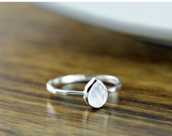 10% off SALE Sterling Silver Pear Moonstone Ring - Moonstone Ring - Statement Ring - Gemstone Ring - Solitaire Ring - Stacking Rings - Gift