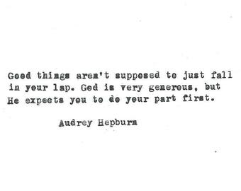 Audrey Hepburn hand typed vintage typewriter quote