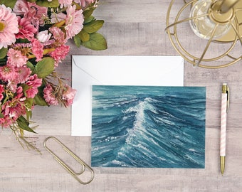 Ocean Wave Watercolor Card 5x7