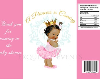 Princess Baby Shower Party Favor-- Chip Bag Template Includes editable .psd file format---DIGITAL FILE ONLY!!