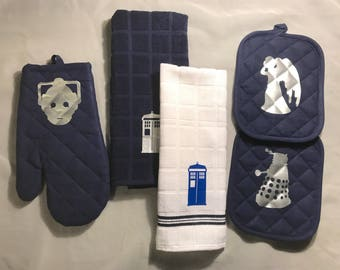Doctor Who Inspired Themed 5 Piece Kitchen Towel Set Dalek Weeping Angel Cyberman Tardis