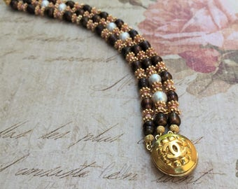 Gold Chanel Button Bracelet, Pearls and Pink Opal Gemstone, Chanel Inspired Jewelry, Repurposed Button Gold Boho Jewelry --- Phoebe bracelet