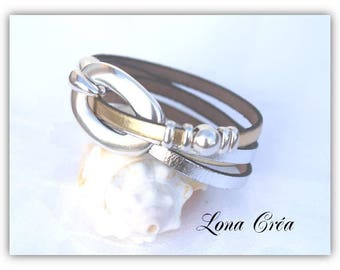 Bracelet leather gold and silver - Mini silver loops - hook clasp, silver - festive jewelry - leather bracelet