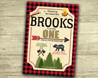 Little Lumberjack S'more Birthday Invitation