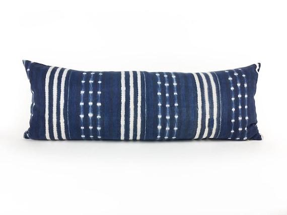 36 x 14  Indigo Stripe & DotPattern Long Lumbar Pillow Cover