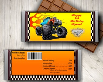 Monster Truck Candy Bar Wrapper, Monster Truck Birthday, Monster Truck Party, Printable