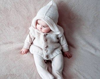 White hand knit merino wool vest, bodice with hood for baby girl, vest with hood for toddler