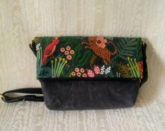 Foldover Crossbody Tote Bag, Waxed Canvas, Canadian Made, 1867Shop, Handmade, Bucket Bag, Menagerie, Rifle Paper Company