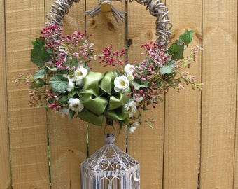 Heart Wreath - White Grapevine - Spring or Summer Wreath - Birdcage with Tea Light - Pink Flowers - White Flowers - Green Flowers - Bow
