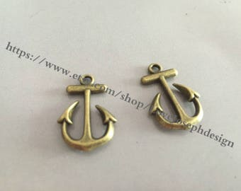 wholesale 100 Pieces /Lot Antique Bronze Plated 15mmx23mm Anchor Charms (#038)