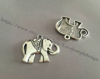 wholesale 100 Pieces /Lot Antique Silver Plated 25mmx21mm elephant Charms (#043)